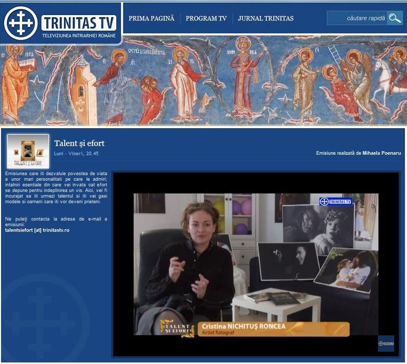 Cristina Nichitus Roncea la emisiunea Talent si Efort de la Trinitas TV