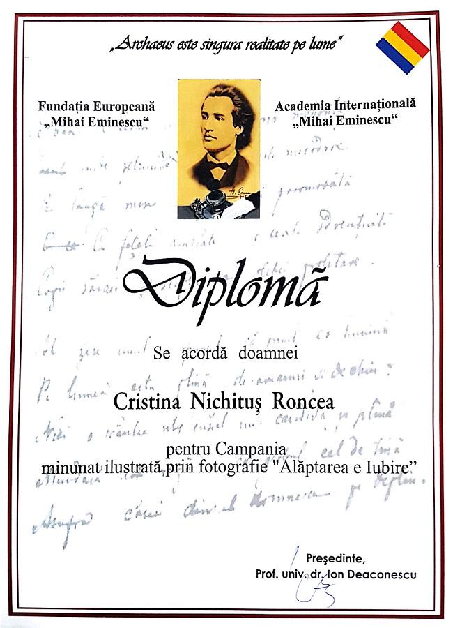 Diploma Cristina Nichitus Roncea Alaptarea e Iubire - Fundatia Mihai Eminescu