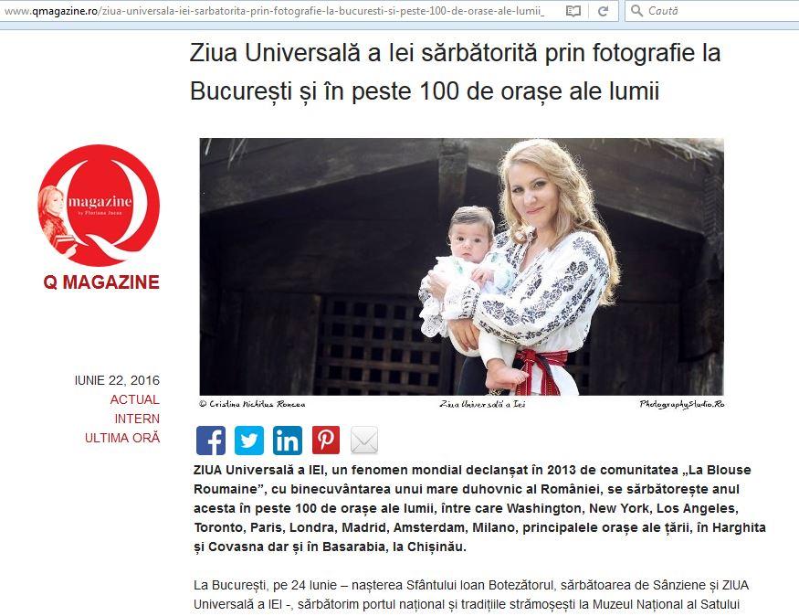 Ziua Universala a Iei Q Magazine