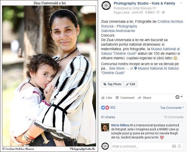 Premiul Photography Studio - Gabriela Andronache, pentru apropierea de 1000 de like-uri si pentru promovarea alaptarii